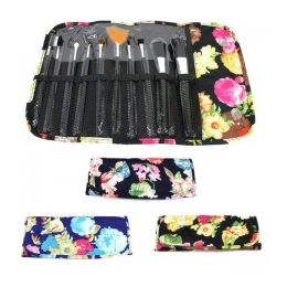 36 Units of 10 Piece COSMETIC Brush Set in a Floral Print
