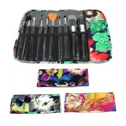 36 Units of 10 Piece Cosmetic Brush Set in a Floral Print - Cosmetics