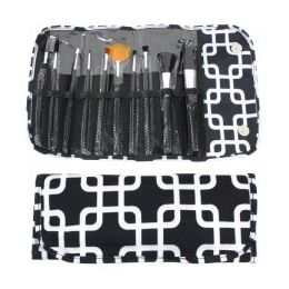 36 Units of 10 Piece Cosmetic Brush Set in an Overlapping Squares Print - Cosmetics
