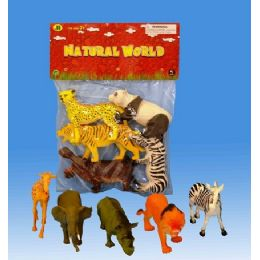 24 Units of 5pieces Wild Animals In Pvc Bag Header Card - Animals & Reptiles