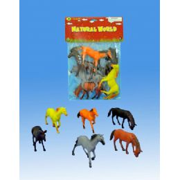 24 Units of 6 Pieces Horse In Pvc Bag Header Card - Animals & Reptiles