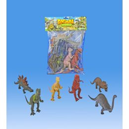 24 Units of 6 Pieces 8 Inch. Dino In Pvc Bag In Header Card - Animals & Reptiles