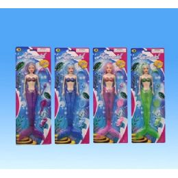 72 Units of Mermaid in blister card assorted. colors - Dolls