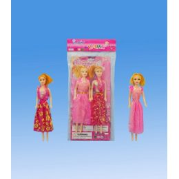 72 Units of 2 pieces 11 doll in pvc bag header card - Dolls
