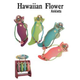 72 Units of HAWAIIAN FLOWER ANKLETS - Ankle Bracelets
