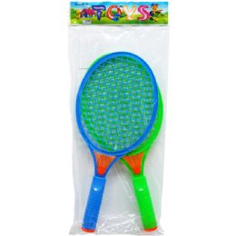 "96 Units of 10.5"" 2 Piece Racket Play Set In Pegable Pp Bag, 2 Assorted Colors - Summer Toys"