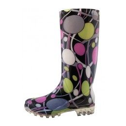18 Units of 13 1/4 Inches Women's Wavy Line & Circular Ring Printed Rain Boots Size 5-10 - Women's Boots