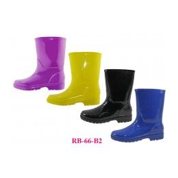 24 Units of Children's Rain Boots ( *asst. Black Blue Purple And Yellow ) - Girls Boots