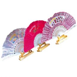"""36 Units of Chinese fan astd clrs 9"""" - Home Decor"""