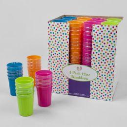 48 Units of 12oz 4 Pack Plastic Tumblers - Plastic Drinkware