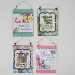 96 Units of Wall Plaque 4ast Spring 12pc C/s Love/faith/family W/wire Hanger 5.9x7.9 Paper Mdf/ht - Easter
