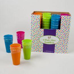 96 Units of 2pk 22oz Plastic Tumblers in 4 Asst Colors - Plastic Drinkware