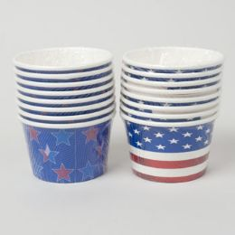 72 Units of Treat Cups Patriotic 8ct/8oz 2ast 24pc Pdq Shrink W/label - Disposable Cups