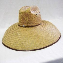 24 Units of Adults Straw Sun Hat in Beige Large Brim - Bucket Hats