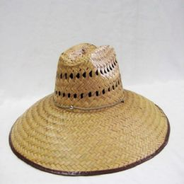 24 Units of Mens Straw Hat in Dark Brown - Bucket Hats