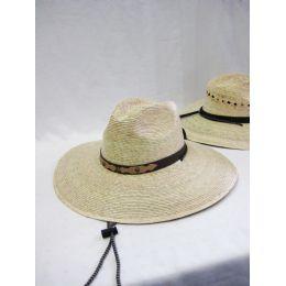 24 Units of Mens Straw Hat in Beige - Bucket Hats