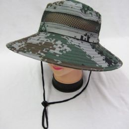 24 Units of Mens Boonie / Hiking Cap Hat in Digital Green - Bucket Hats