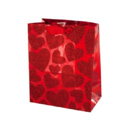 216 Units of Small Red Glitter Hearts Gift Bag - Gift Bags