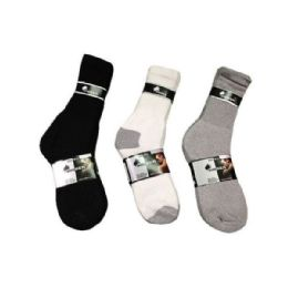 144 Units of Boys Sport Sock Crew In Black Size 9-11 - Boys Crew Sock