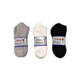 144 Units of Boys Sports Sock Low Cut In Black Size 9-11 - Boys Ankle Sock