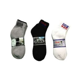 144 Units of Boys Sports Sock Ankle with Logo In Black Size 9-11 - Boys Ankle Sock