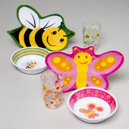 144 Units of Dinnerware Kids Melamine Diecut Butterfly/bee - Plastic Bowls and Plates