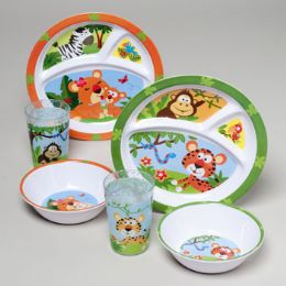 144 Units of Dinnerware Kids Melamine Shipper Wild Animals - Plastic Bowls and Plates