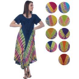 24 Units of Umbrella Multi color TIE DYE Pattern Rayon Dresses