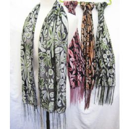 36 Units of Floral Printed Scarves - Womens Fashion Scarves