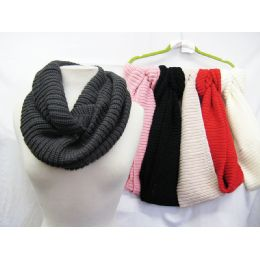 36 Units of Solid Color Knit Infinity Scarves - Womens Fashion Scarves