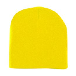60 Units of Unisex Short Ski/Beanie Hat 8 inch In Yellow - Winter Beanie Hats