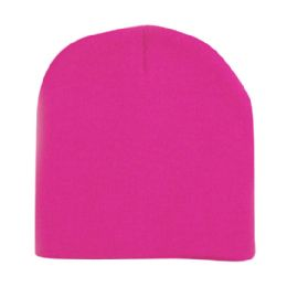 60 Units of Unisex Short Ski/Beanie Hat 8 inch In Hot Pink - Winter Beanie Hats