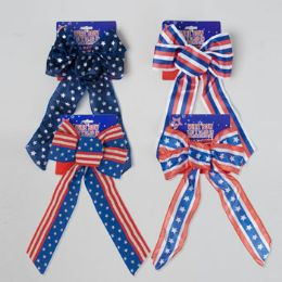 96 Units of Bow Patriotic Wired Ribbon 5loop - 4th Of July