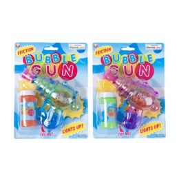 48 Units of Bubble Gun W/friction Try Me Light Up W/bubble Solution 2ast - Bubbles