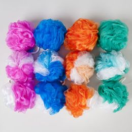 120 Units of Bath Sponge 2-Tone Tri Color 4 Solids & 12 Assorted In 120pc Pvc Tube Display - Loofahs & Scrubbers