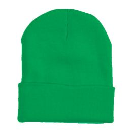 "60 Units of 12"" LONG SKI BEANIE IN KELLY GREEN - Winter Beanie Hats"