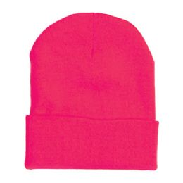 "60 Units of 12"" LONG SKI BEANIE IN HOT PINK - Winter Beanie Hats"