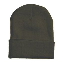 "60 Units of 12"" LONG SKI BEANIE IN OLIVE - Winter Beanie Hats"