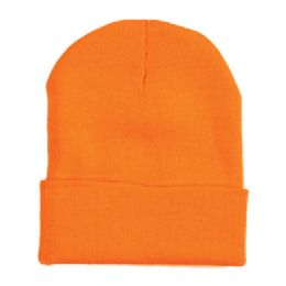"60 Units of 12"" LONG SKI BEANIE IN ORANGE - Winter Beanie Hats"