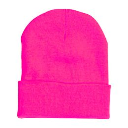 "60 Units of 12"" LONG SKI BEANIE IN NEON HOT PINK - Winter Beanie Hats"