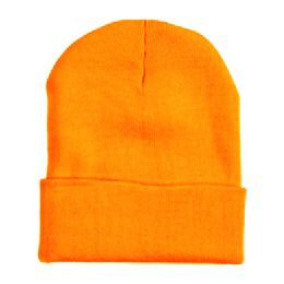 "60 Units of 12"" LONG SKI BEANIE IN NEON ORANGE - Winter Beanie Hats"