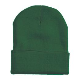 "60 Units of 12"" LONG SKI BEANIE IN HUNTER GREEN - Winter Beanie Hats"