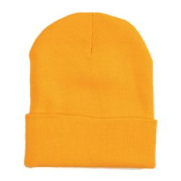 "60 Units of 12"" LONG SKI BEANIE IN GOLD - Winter Beanie Hats"