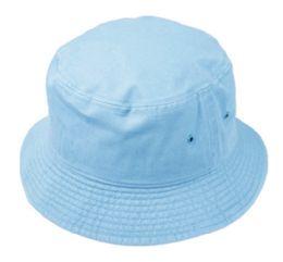 12 Units of Plain Cotton Bucket Hats In Sky Blue - Bucket Hats