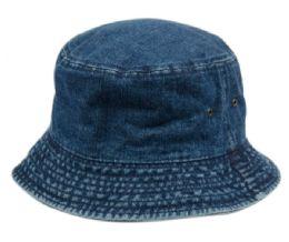 12 Units of Plain Cotton Bucket Hats In Denim Blue - Bucket Hats