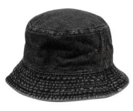 12 Units of Plain Cotton Bucket Hats In Denim Black - Bucket Hats