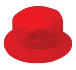 12 Units of Plain Cotton Bucket Hats In Red - Bucket Hats