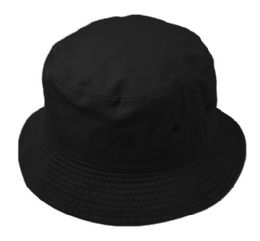 12 Units of Plain Cotton Bucket Hats In Black - Bucket Hats