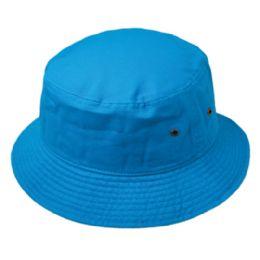 12 Units of Plain Cotton Bucket Hats In Turquoise - Bucket Hats