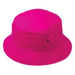 12 Units of Plain Cotton Bucket Hats In Hot Pink - Bucket Hats